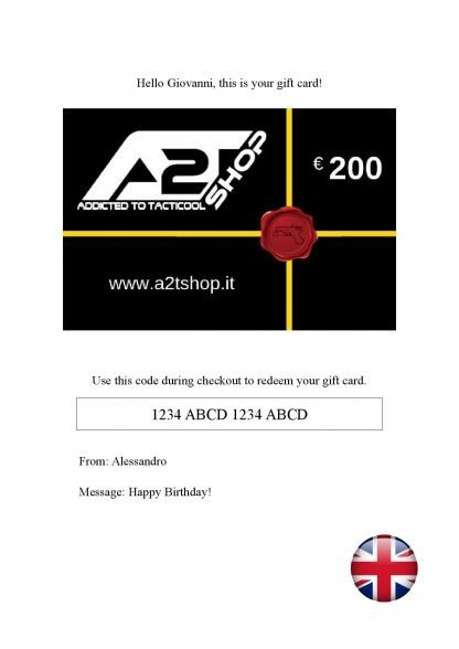 E-Gift Card A2T SHOP eng modello