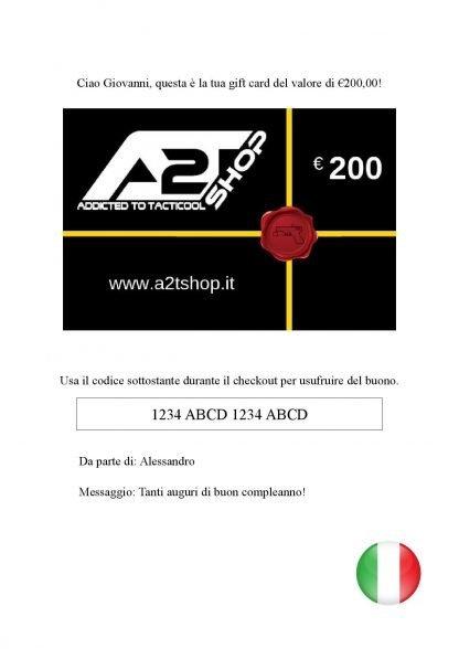 E-Gift Card A2T SHOP ita modello